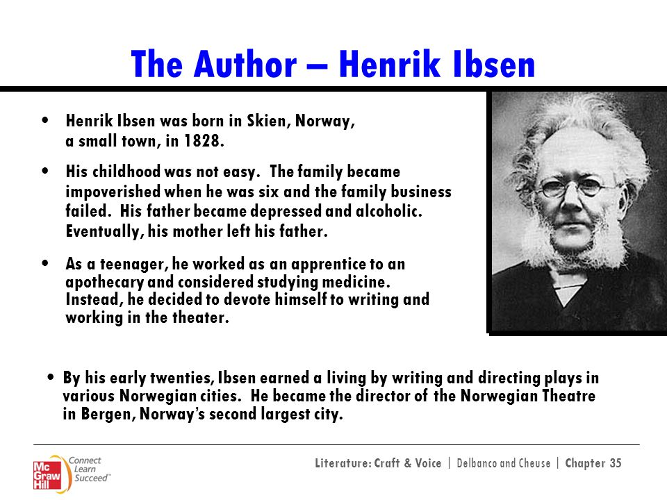 Literature: Craft & Voice | Delbanco and Cheuse | Chapter 35 The Author – Henrik Ibsen Henrik Ibsen was born in Skien, Norway, a small town, in 1828.