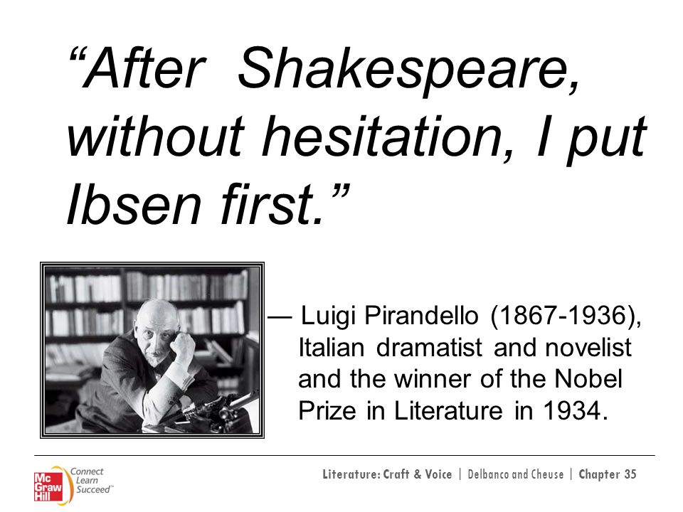 Literature: Craft & Voice | Delbanco and Cheuse | Chapter 35 After Shakespeare, without hesitation, I put Ibsen first. Luigi Pirandello (1867-1936), I