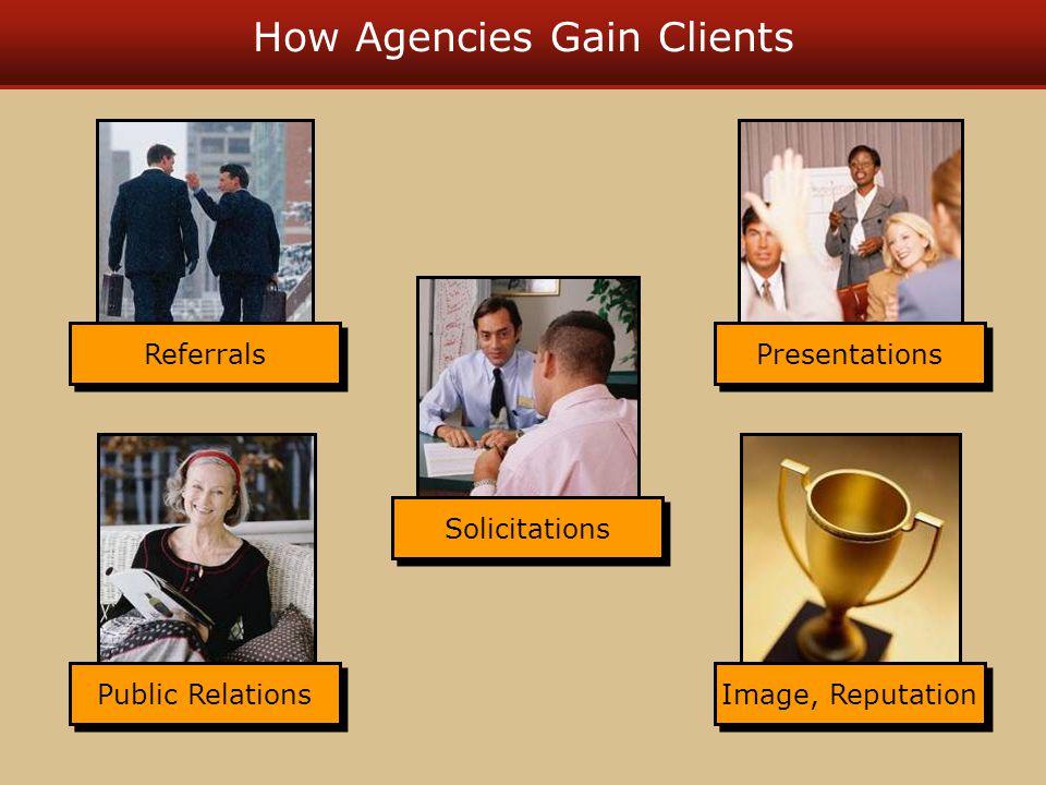 How Agencies Gain Clients Referrals Solicitations Presentations Public Relations Image, Reputation