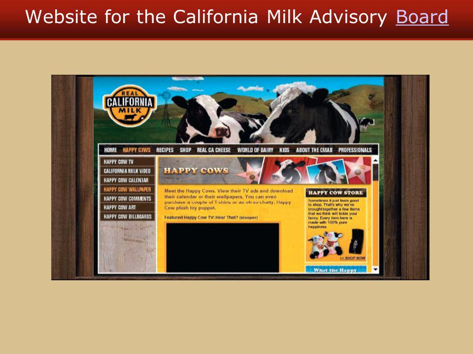 Website for the California Milk Advisory BoardBoard