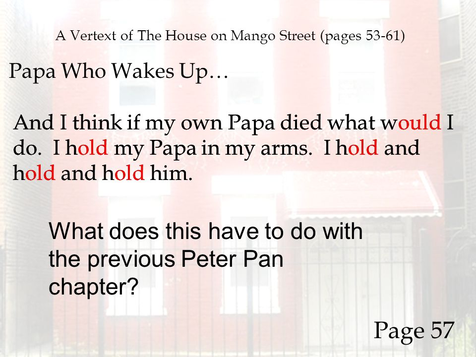 A Vertext of The House on Mango Street (pages 53-61) Papa Who Wakes Up… And I think if my own Papa died what would I do. I hold my Papa in my arms. I
