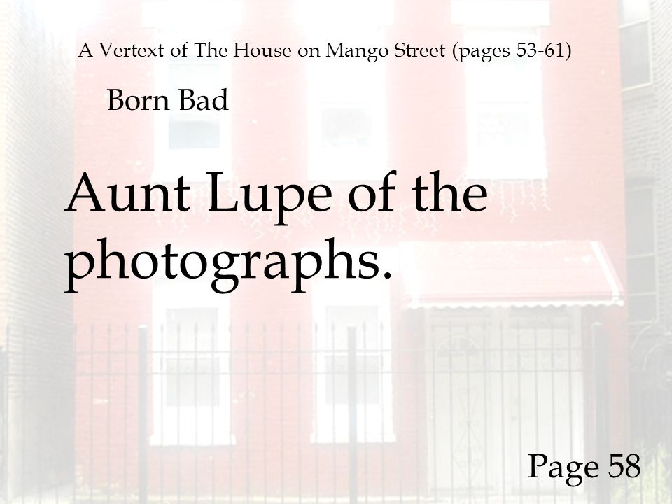 A Vertext of The House on Mango Street (pages 53-61) Born Bad Aunt Lupe of the photographs. Page 58