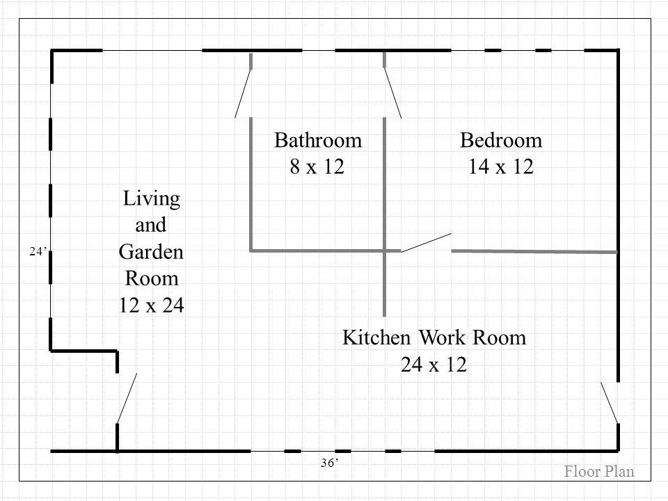 Kitchen Work Room 24 x 12 Floor Plan 24 36 Living and Garden Room 12 x 24 Bedroom 14 x 12 Bathroom 8 x 12
