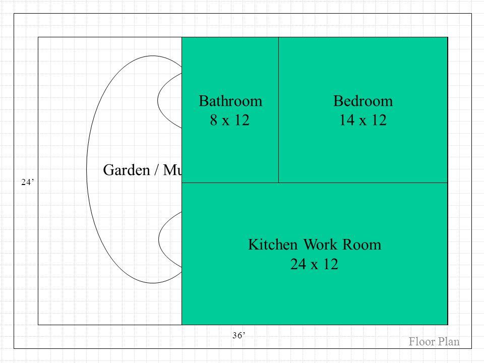 Kitchen / Eating Bedroom Bathroom Garden / Music Den 24 36 Bathroom 8 x 12 Bedroom 14 x 12 Kitchen Work Room 24 x 12 Floor Plan