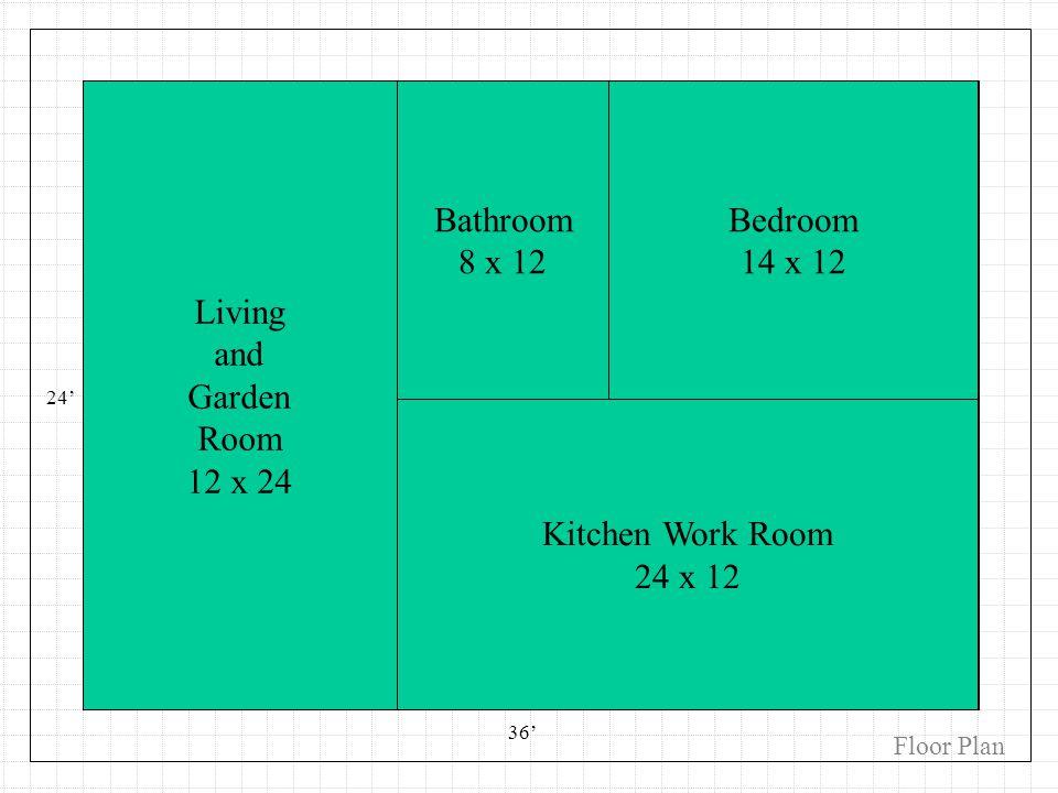 Kitchen / Eating Bedroom Bathroom Garden / Music Den 24 36 Bathroom 8 x 12 Bedroom 14 x 12 Kitchen Work Room 24 x 12 Living and Garden Room 12 x 24 Fl