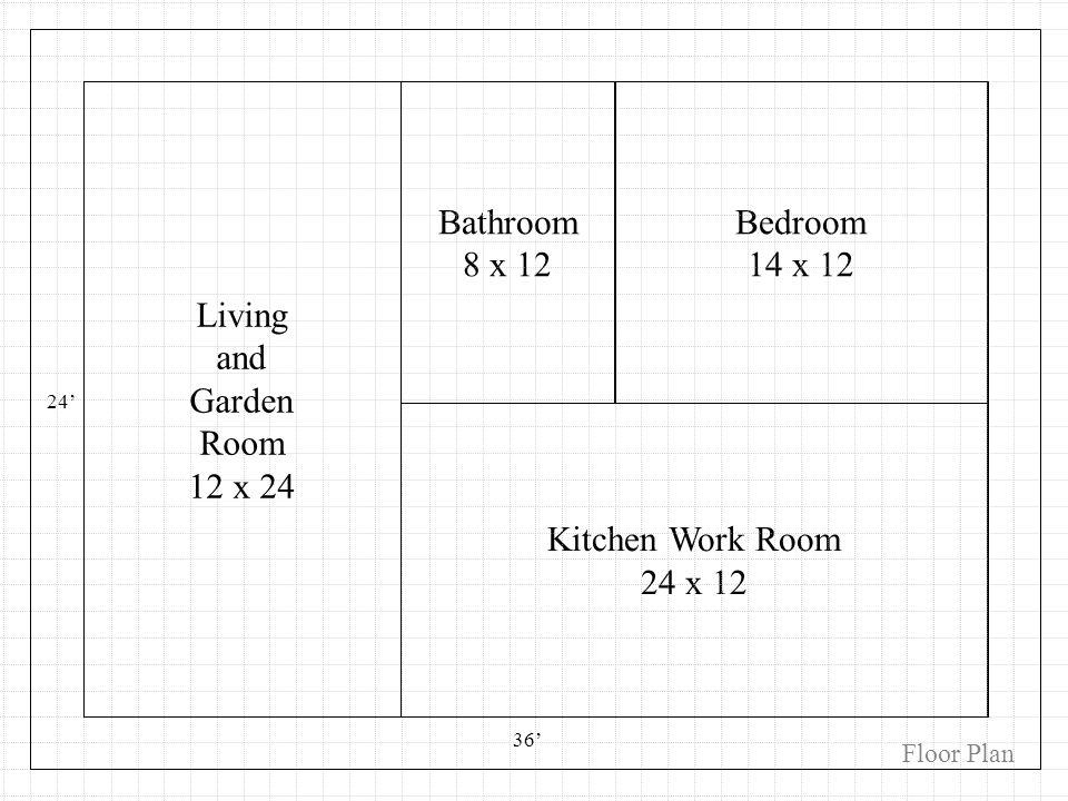 Kitchen Work Room 24 x 12 Bedroom 14 x 12 Bathroom 8 x 12 24 36 Living and Garden Room 12 x 24 Floor Plan