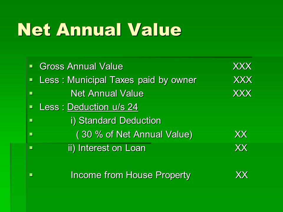 Net Annual Value Gross Annual Value XXX Gross Annual Value XXX Less : Municipal Taxes paid by owner XXX Less : Municipal Taxes paid by owner XXX Net A
