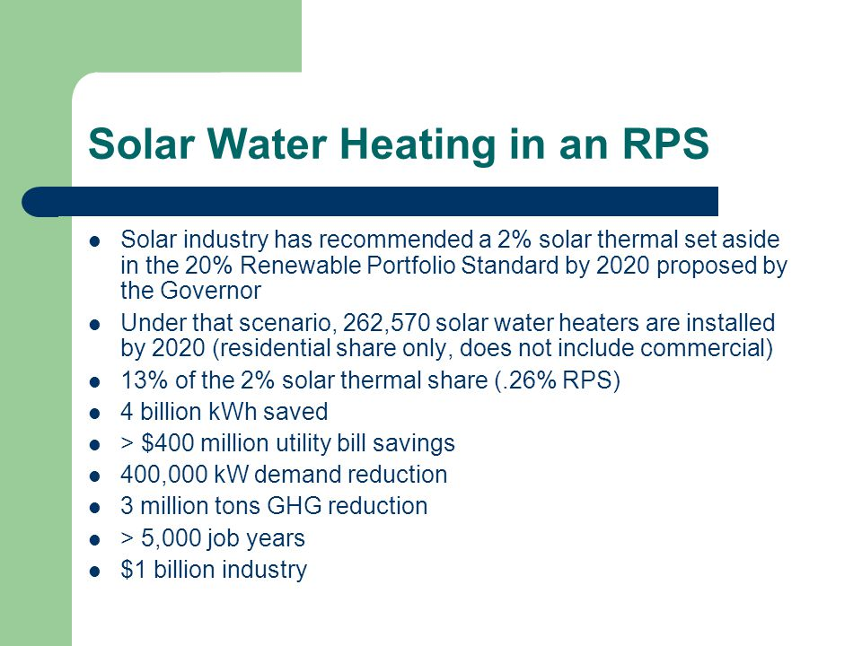 Solar Water Heating in an RPS Solar industry has recommended a 2% solar thermal set aside in the 20% Renewable Portfolio Standard by 2020 proposed by the Governor Under that scenario, 262,570 solar water heaters are installed by 2020 (residential share only, does not include commercial) 13% of the 2% solar thermal share (.26% RPS) 4 billion kWh saved > $400 million utility bill savings 400,000 kW demand reduction 3 million tons GHG reduction > 5,000 job years $1 billion industry