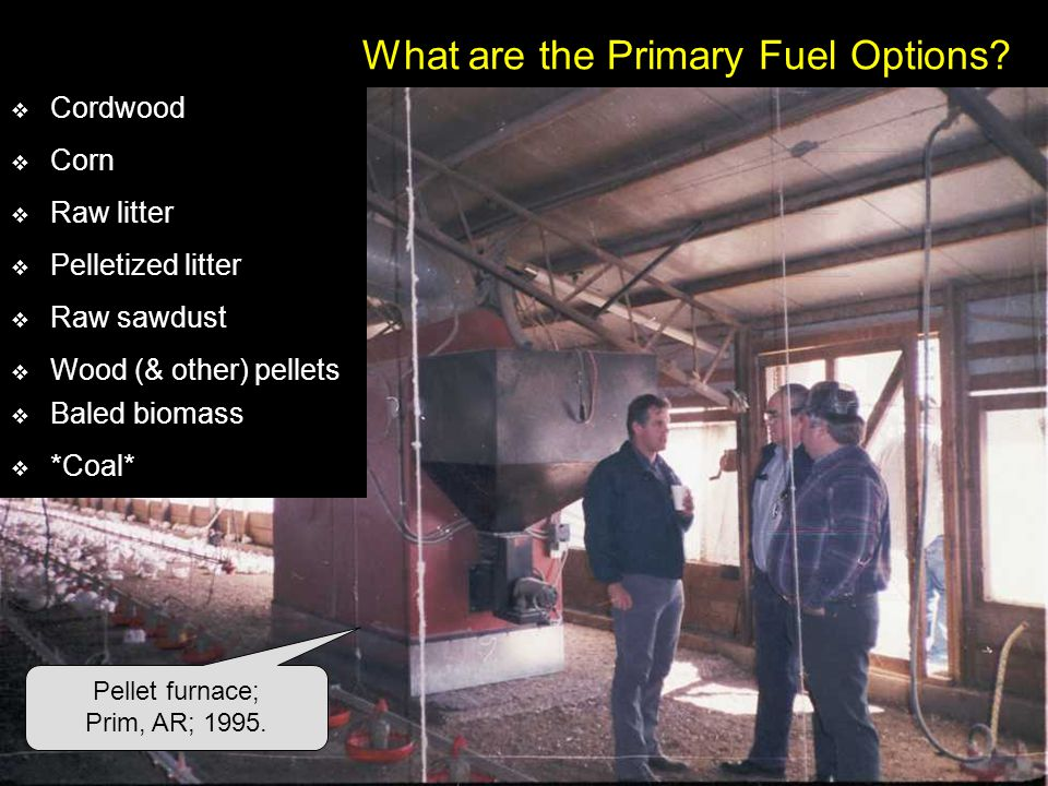 What are the Primary Fuel Options? Pellet furnace; Prim, AR; 1995. Corn Raw litter Pelletized litter Wood (& other) pellets Baled biomass *Coal* Raw s