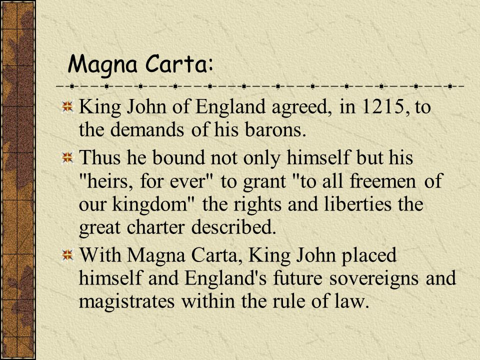 The Monarchy 1. History of the Monarchy Magna Carta (the Great Charter) 2. the present Sovereign is Queen Elizabeth II, daughter of George, who ascend