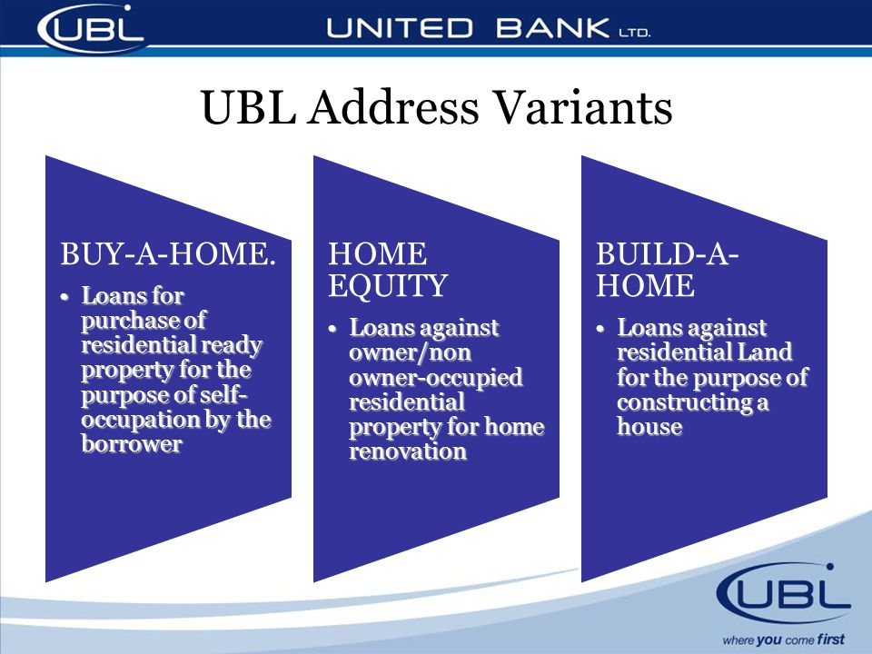 UBL Address Variants BUY-A-HOME. Loans for purchase of residential ready property for the purpose of self- occupation by the borrowerLoans for purchas