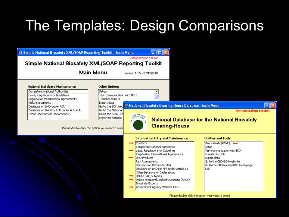 The Templates: Design Comparisons
