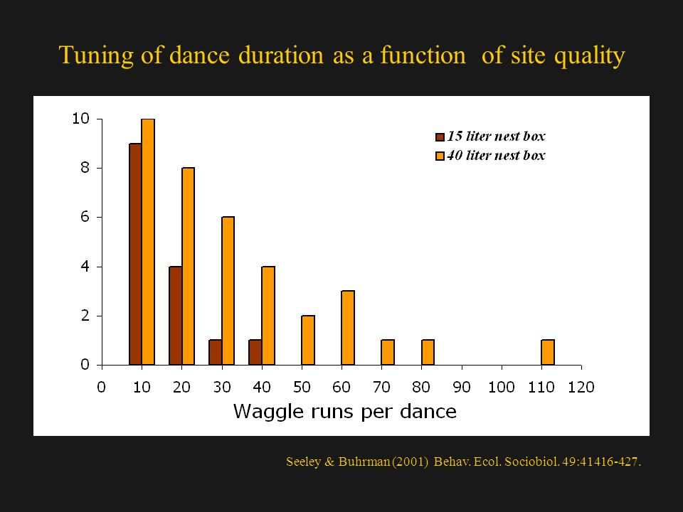 Tuning of dance duration as a function of site quality Seeley & Buhrman (2001) Behav.