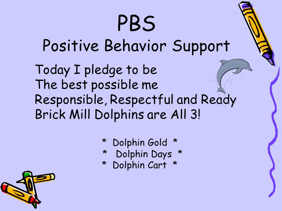 PBS Positive Behavior Support Today I pledge to be The best possible me Responsible, Respectful and Ready Brick Mill Dolphins are All 3! * Dolphin Gol