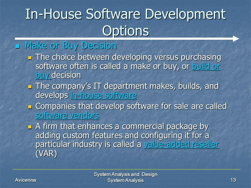 Avicenna System Analysis and Design System Analysis13 In-House Software Development Options Make or Buy Decision Make or Buy Decision The choice betwe