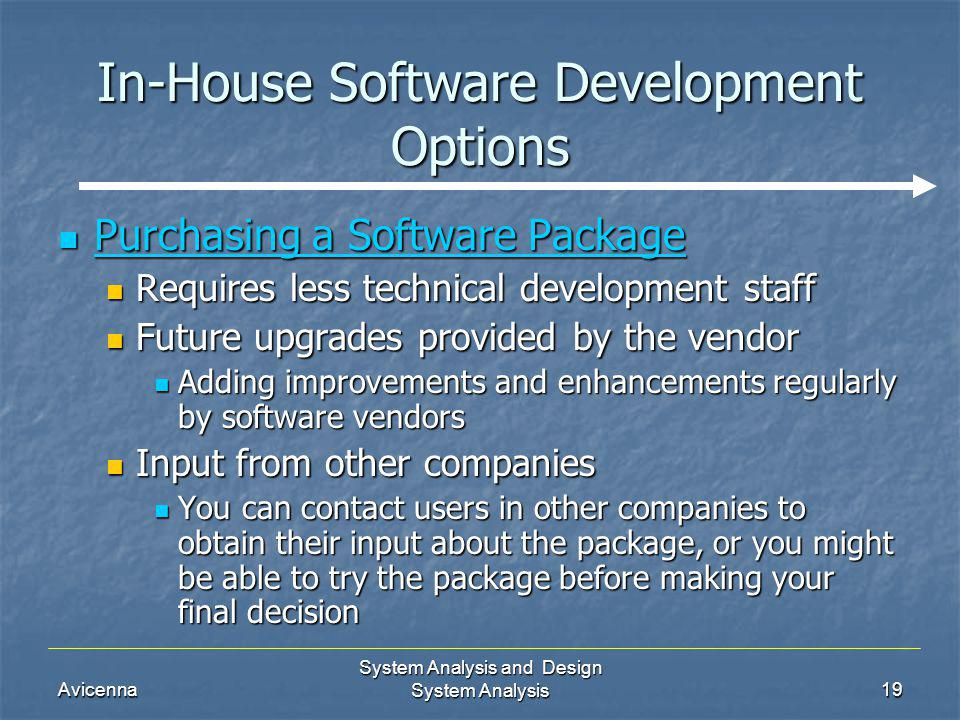 Avicenna System Analysis and Design System Analysis19 In-House Software Development Options Purchasing a Software Package Purchasing a Software Packag