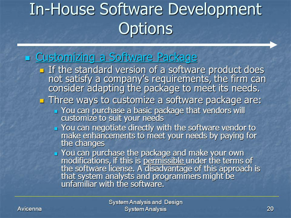 Avicenna System Analysis and Design System Analysis20 In-House Software Development Options Customizing a Software Package Customizing a Software Pack