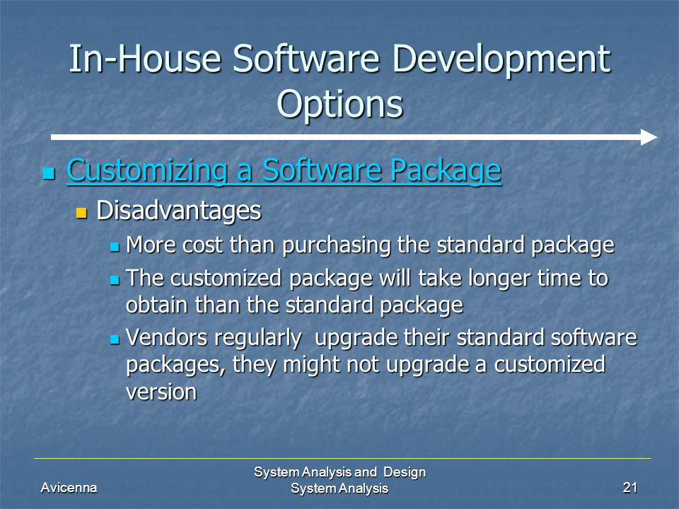 Avicenna System Analysis and Design System Analysis21 In-House Software Development Options Customizing a Software Package Customizing a Software Pack