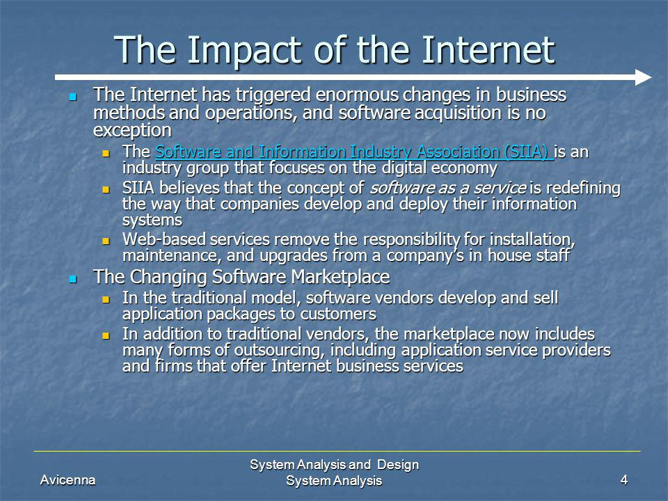 Avicenna System Analysis and Design System Analysis4 The Impact of the Internet The Internet has triggered enormous changes in business methods and op