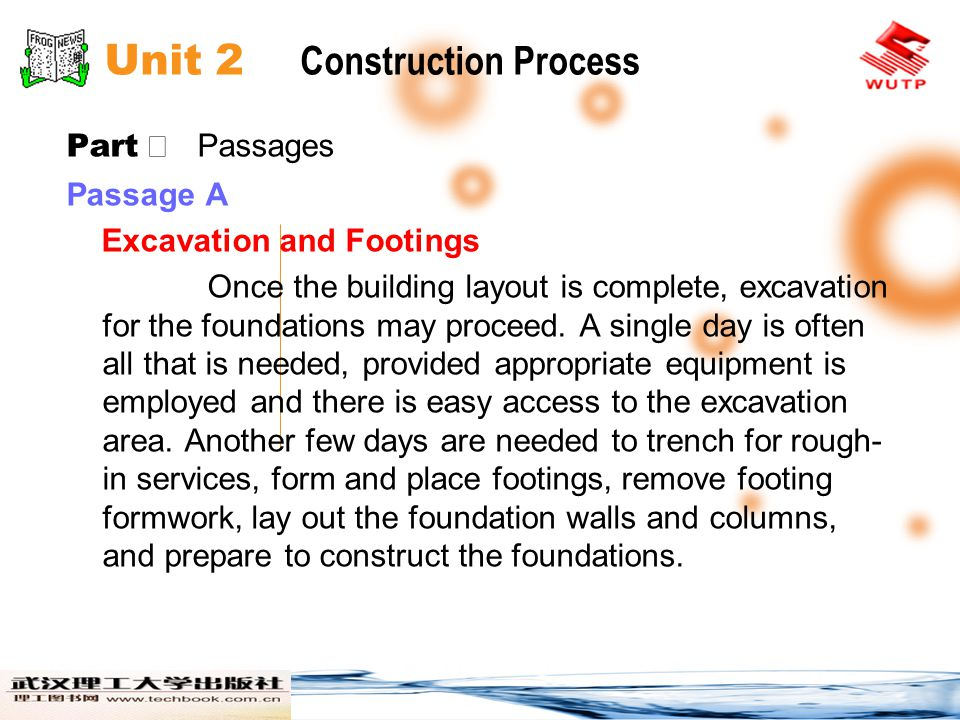 Unit 2 Construction Process Part Passages Passage A Excavation and Footings Once the building layout is complete, excavation for the foundations may proceed.