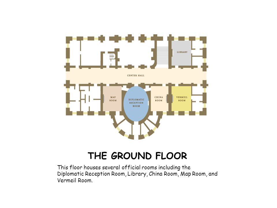 THE GROUND FLOOR This floor houses several official rooms including the Diplomatic Reception Room, Library, China Room, Map Room, and Vermeil Room.