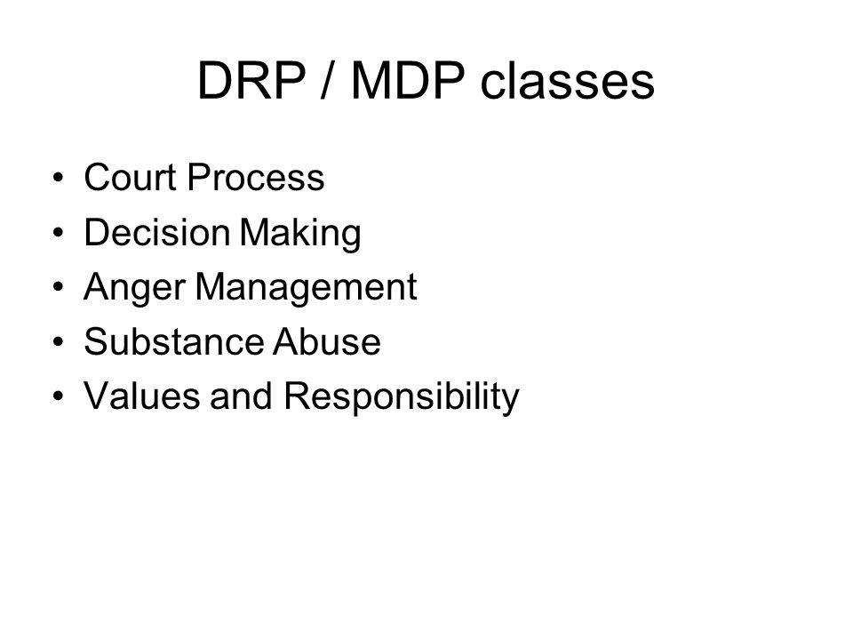 DRP / MDP classes Court Process Decision Making Anger Management Substance Abuse Values and Responsibility