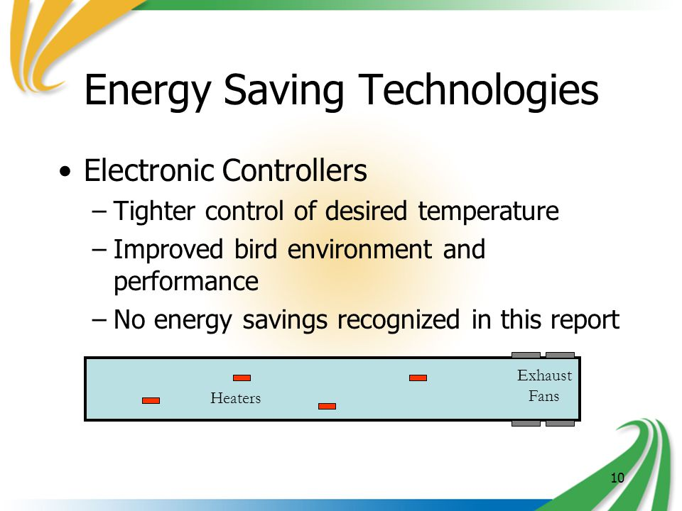 10 Energy Saving Technologies Electronic Controllers –Tighter control of desired temperature –Improved bird environment and performance –No energy savings recognized in this report Heaters Exhaust Fans