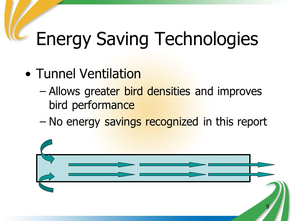 9 Energy Saving Technologies Tunnel Ventilation –Allows greater bird densities and improves bird performance –No energy savings recognized in this report