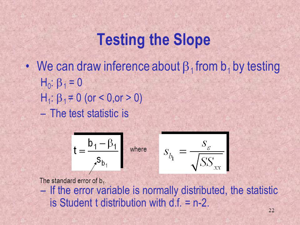 22 We can draw inference about 1 from b 1 by testing H 0 : 1 = 0 H 1 : 1 = 0 (or 0) –The test statistic is –If the error variable is normally distributed, the statistic is Student t distribution with d.f.