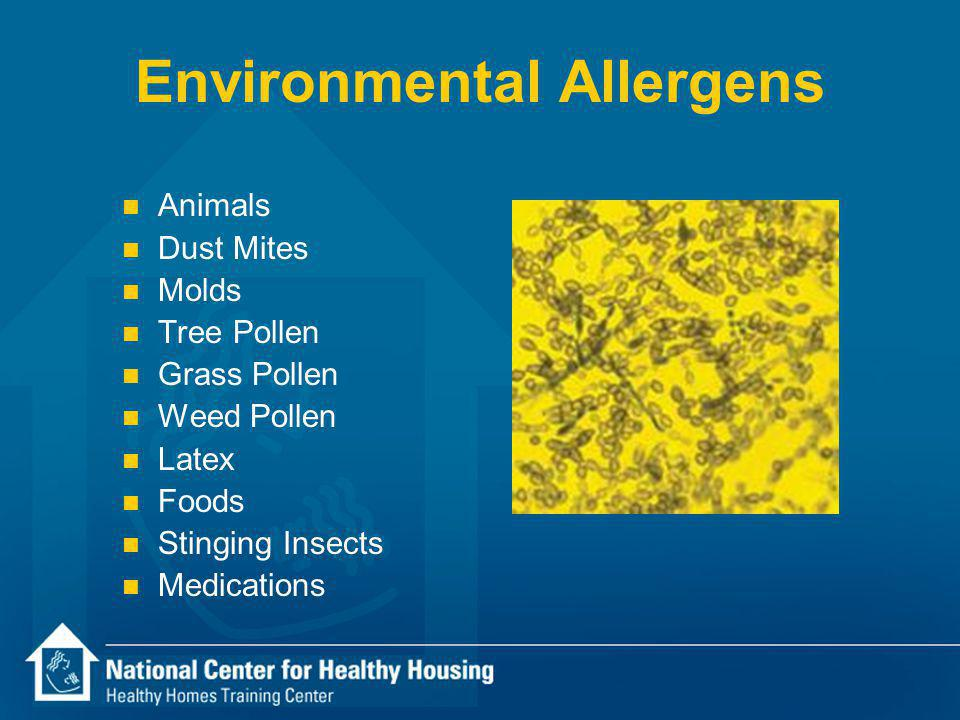Environmental Allergens n Animals n Dust Mites n Molds n Tree Pollen n Grass Pollen n Weed Pollen n Latex n Foods n Stinging Insects n Medications