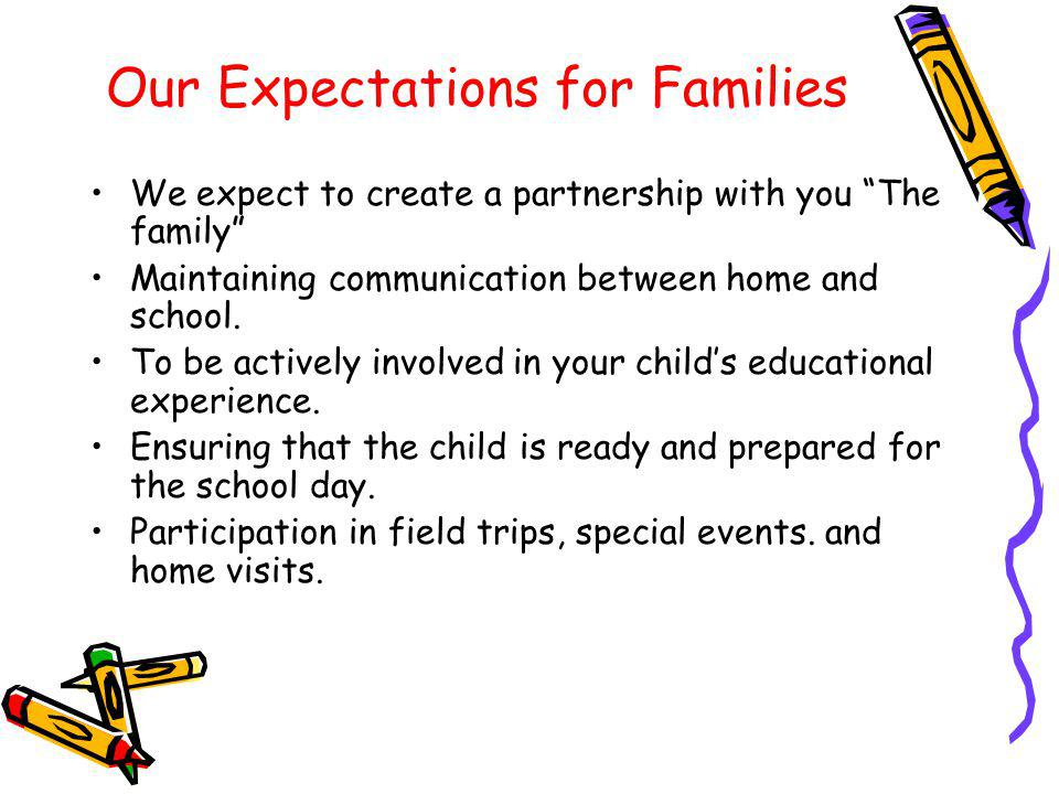 Our Expectations for Families We expect to create a partnership with you The family Maintaining communication between home and school. To be actively