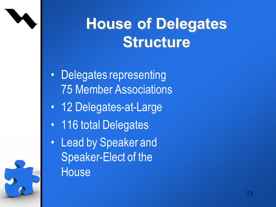 13 House of Delegates Structure Delegates representing 75 Member Associations 12 Delegates-at-Large 116 total Delegates Lead by Speaker and Speaker-Elect of the House