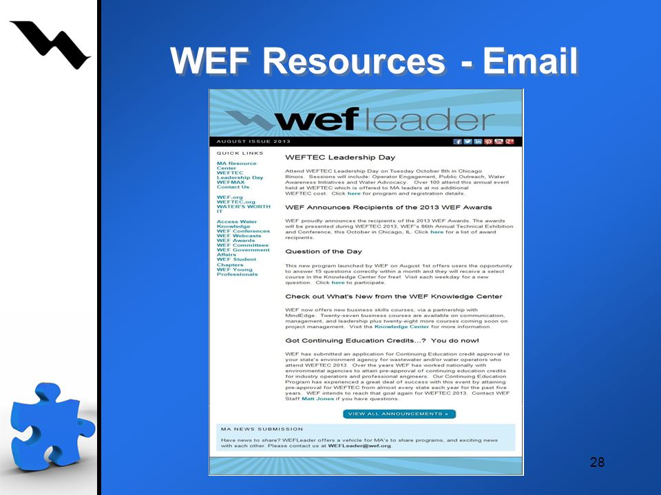 28 WEF Resources -