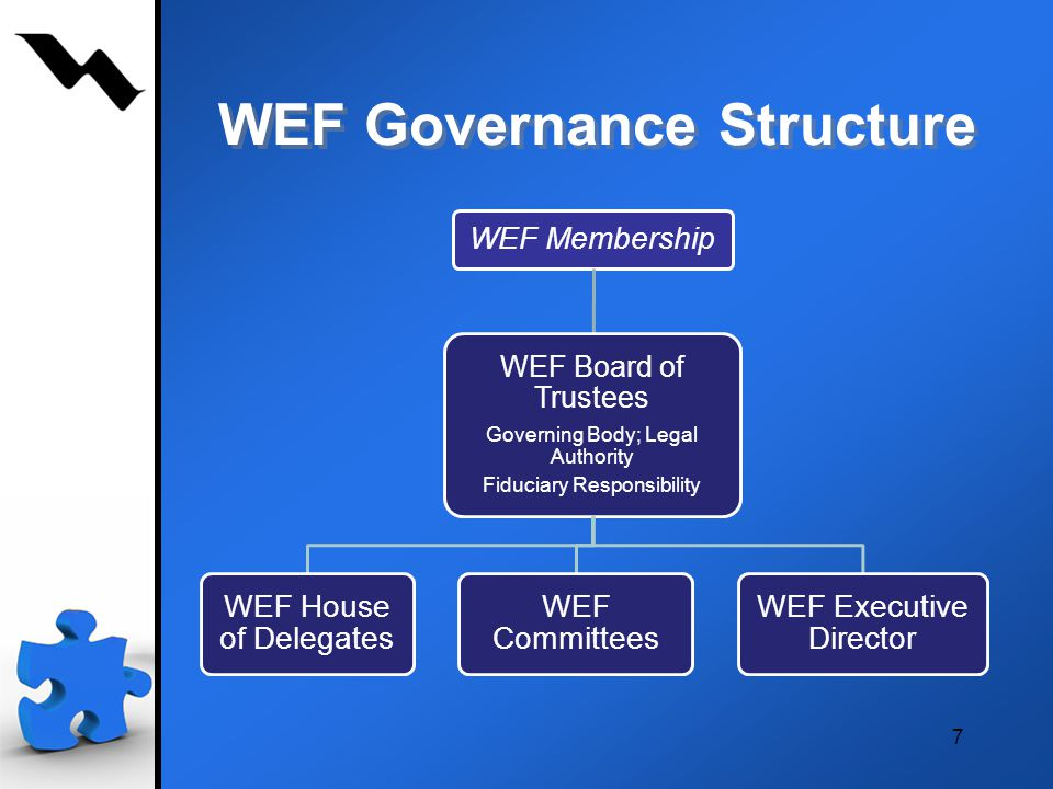 7 WEF Governance Structure WEF Membership WEF Board of Trustees Governing Body; Legal Authority Fiduciary Responsibility WEF House of Delegates WEF Committees WEF Executive Director