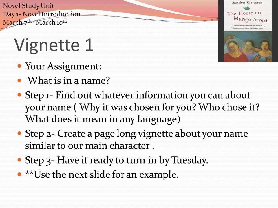 Day 1 Reading- Pages 3-11 Today we are going to read the first few pages of the book as a class then complete study guide questions which is your exit ticket and write a vignette.