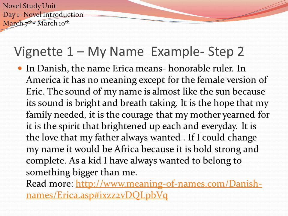 Vignette 1 – My Name Example Step 1 What is in a name Why it was chosen for you? – My mother chose my name because it reminded her of a actor she like