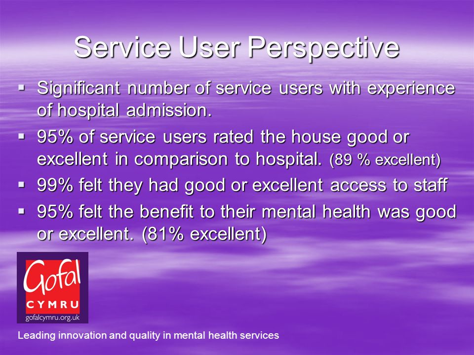 Service User Perspective Significant number of service users with experience of hospital admission.