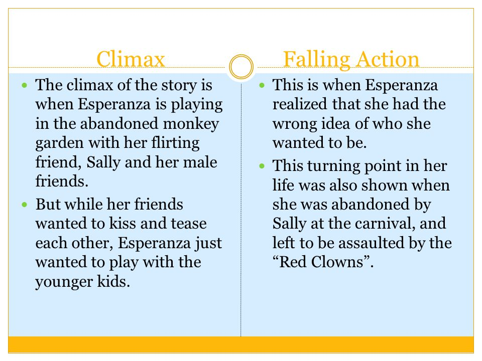 Climax The climax of the story is when Esperanza is playing in the abandoned monkey garden with her flirting friend, Sally and her male friends. But w
