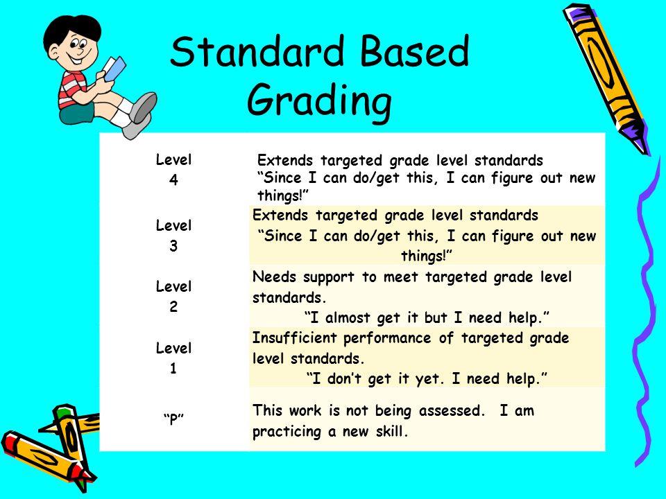 Standard Based Grading Level 4 Extends targeted grade level standards Since I can do/get this, I can figure out new things! Level 3 Extends targeted g