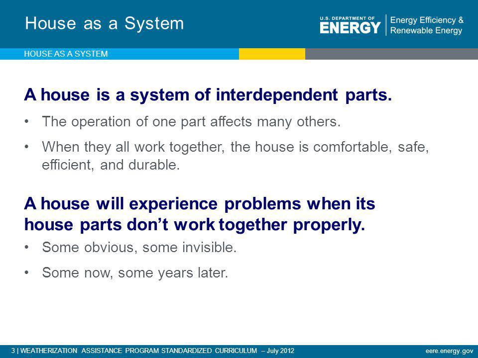 3 | WEATHERIZATION ASSISTANCE PROGRAM STANDARDIZED CURRICULUM – July 2012eere.energy.gov House as a System A house is a system of interdependent parts