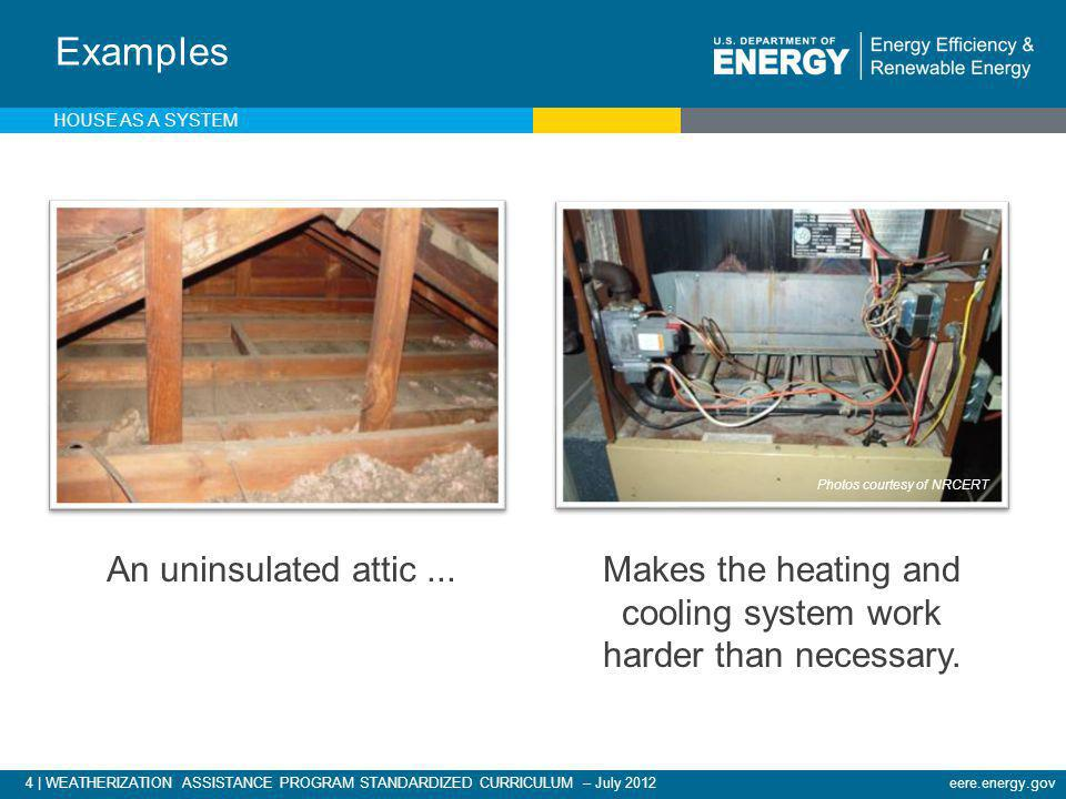 4 | WEATHERIZATION ASSISTANCE PROGRAM STANDARDIZED CURRICULUM – July 2012eere.energy.gov Examples HOUSE AS A SYSTEM An uninsulated attic...Makes the h