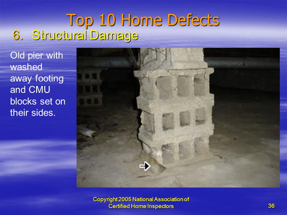 Copyright 2005 National Association of Certified Home Inspectors 36 Top 10 Home Defects 6.Structural Damage Old pier with washed away footing and CMU