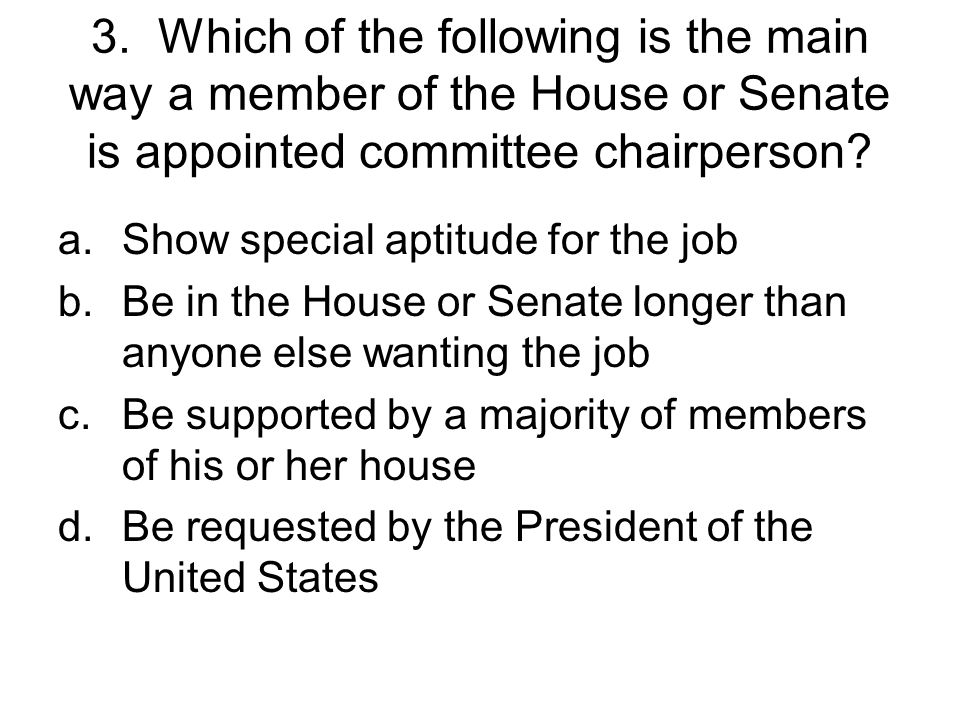 2. All of the following are true about the president of the Senate and the Speaker of the House except a.Both hold an office mentioned in the constitu