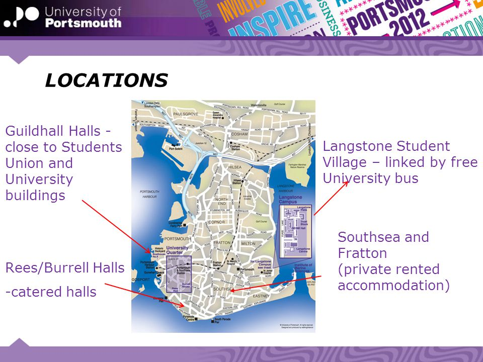 LOCATIONS Langstone Student Village – linked by free University bus Southsea and Fratton (private rented accommodation) Guildhall Halls - close to Stu