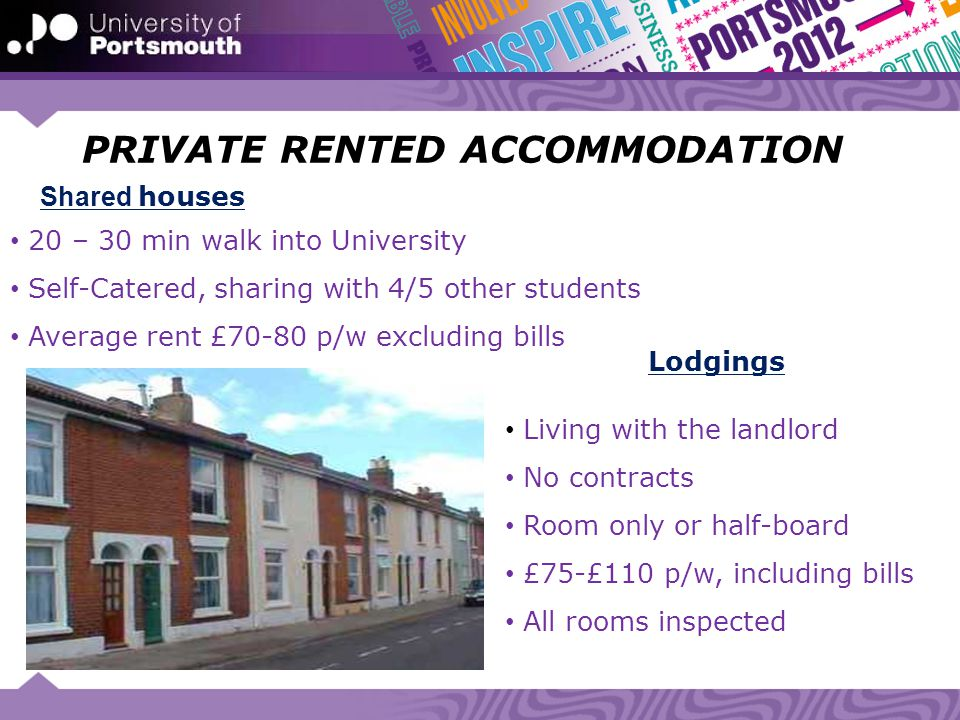 PRIVATE RENTED ACCOMMODATION 20 – 30 min walk into University Self-Catered, sharing with 4/5 other students Average rent £70-80 p/w excluding bills Li