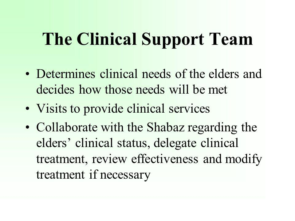 The Clinical Support Team Determines clinical needs of the elders and decides how those needs will be met Visits to provide clinical services Collabor