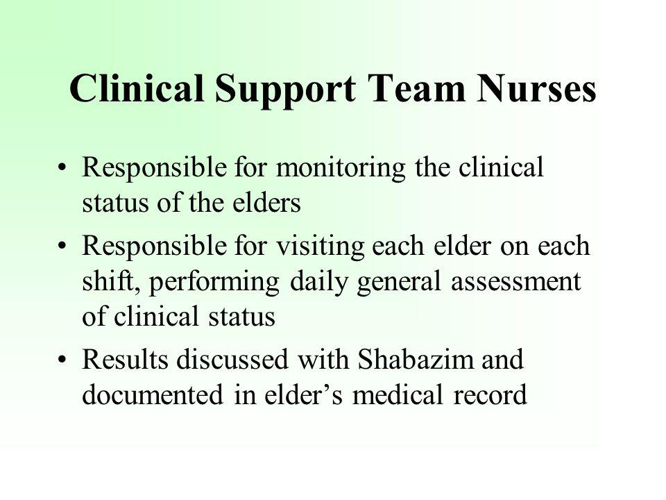 Responsible for monitoring the clinical status of the elders Responsible for visiting each elder on each shift, performing daily general assessment of clinical status Results discussed with Shabazim and documented in elders medical record