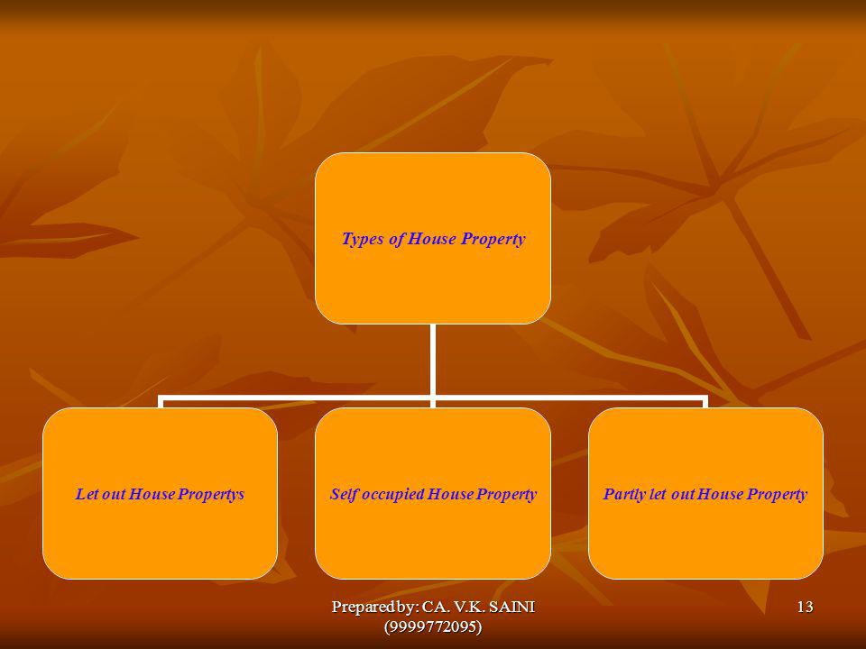Types of House Property Let out House Propertys Self occupied House Property Partly let out House Property 13Prepared by: CA. V.K. SAINI (9999772095)