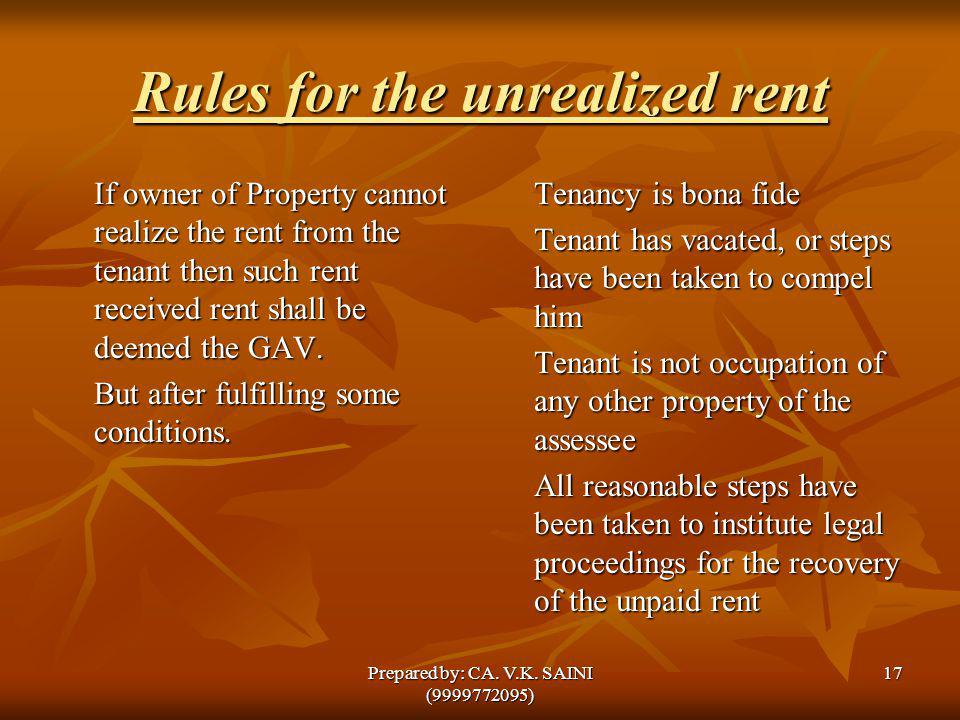 Rules for the unrealized rent If owner of Property cannot realize the rent from the tenant then such rent received rent shall be deemed the GAV. But a
