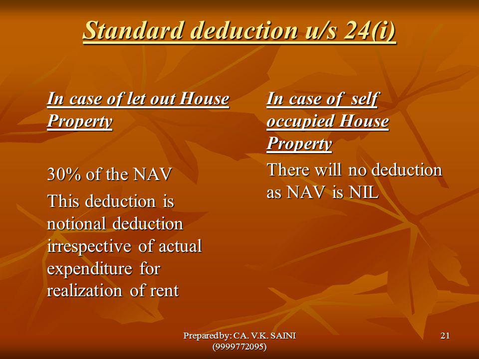 Standard deduction u/s 24(i) In case of let out House Property 30% of the NAV This deduction is notional deduction irrespective of actual expenditure